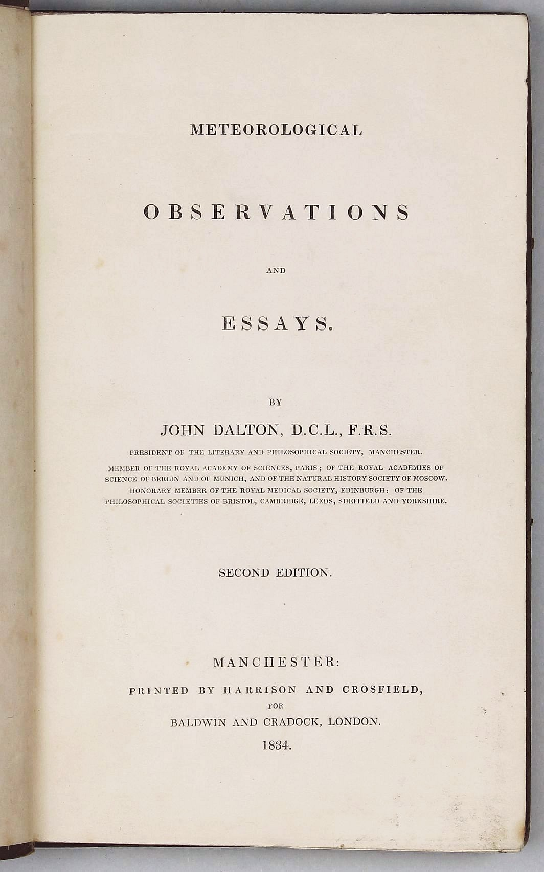 meteorological observations and essays john dalton nd edition meteorological observations and essays