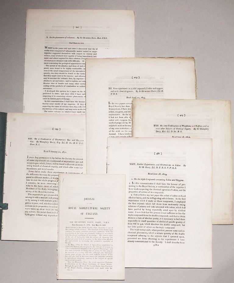 SIR HUMPHRY DAVY: A group of 7 important papers on chemical and geological subjects (journal extracts). Humphry DAVY.