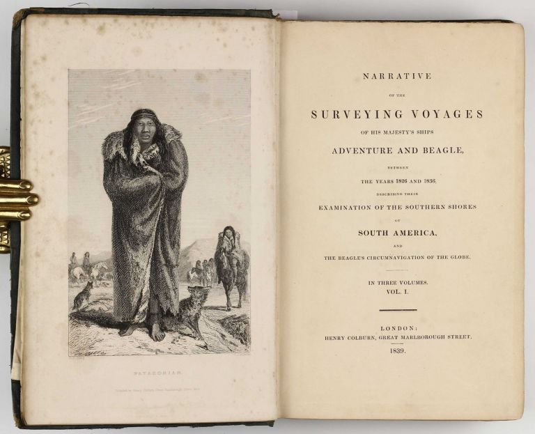 Narrative of the Surveying Voyages of His Majesty's Ships Adventure and the Beagle, between the years 1826 and 1836, Describing Their Examination of the Southern Shores of South America, and the Beagle's Circumnavigation of the Globe. Volume one only. Robert FITZROY, Philip Parker KING, Charles DARWIN.