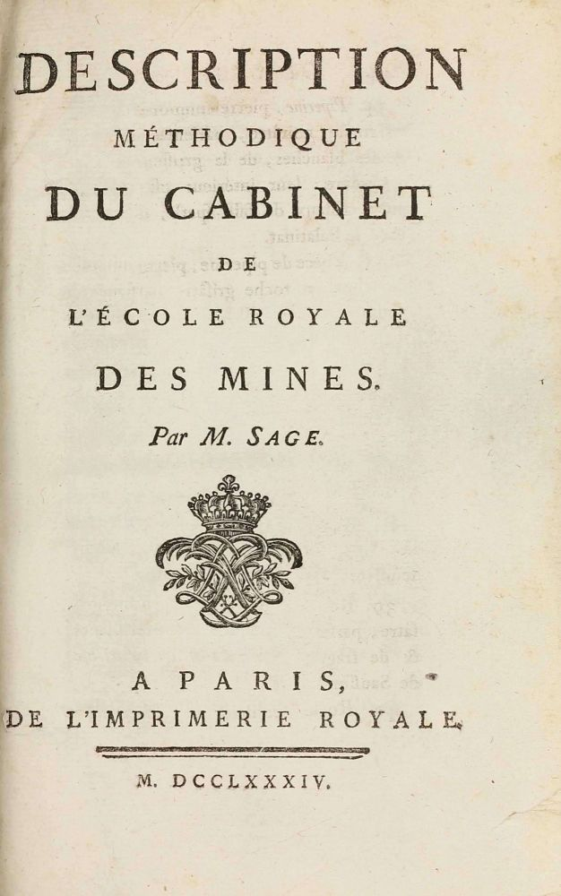 Description methodique du cabinet de l'Ecole royale des Mines / Supplement a la Description methodique du cabinet de l'Ecole Royale des Mines. Balthasar-Georges SAGE.