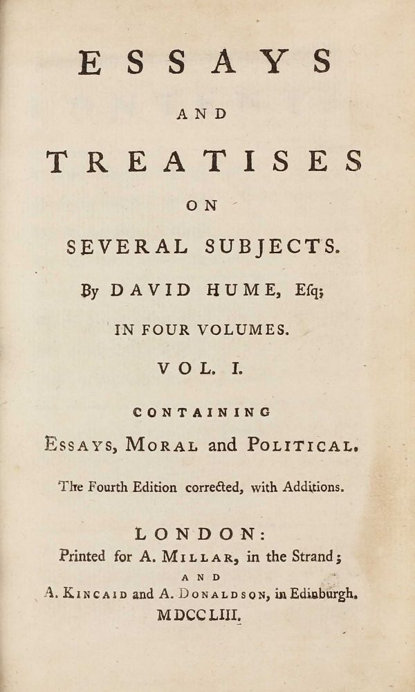 essays and treatises on several subjects  david hume  st edition view image  of  for essays and treatises on several subjects david hume