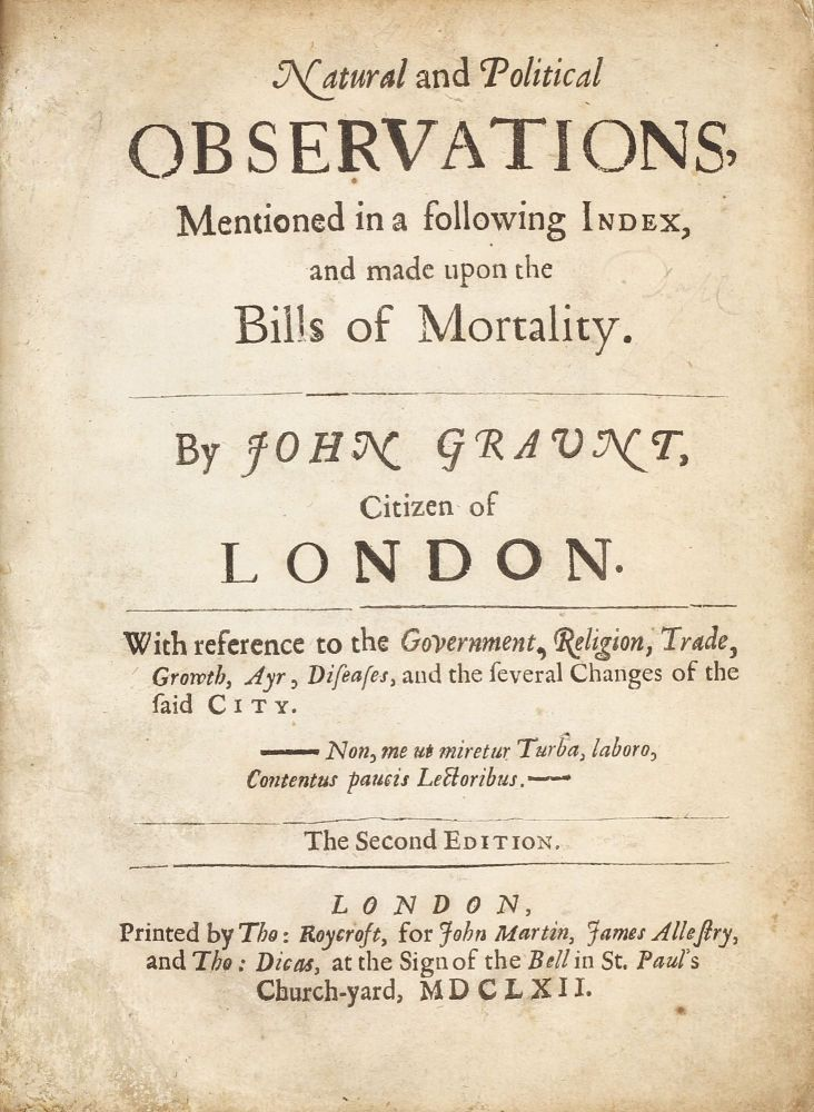 Natural and Political Observations Mentioned in a following Index, and made upon the Bills of Mortality, with reference to the Government, Religion, Trade, Growth, Air, Diseases, and the several Changes of the said City, the Second Edition. John GRAUNT.