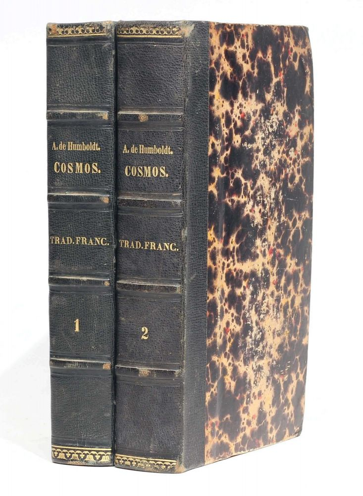 Cosmos, essai d'une description physique du monde. Traduit par H. Faye. First two (of four) volumes. Alexander von HUMBOLDT.