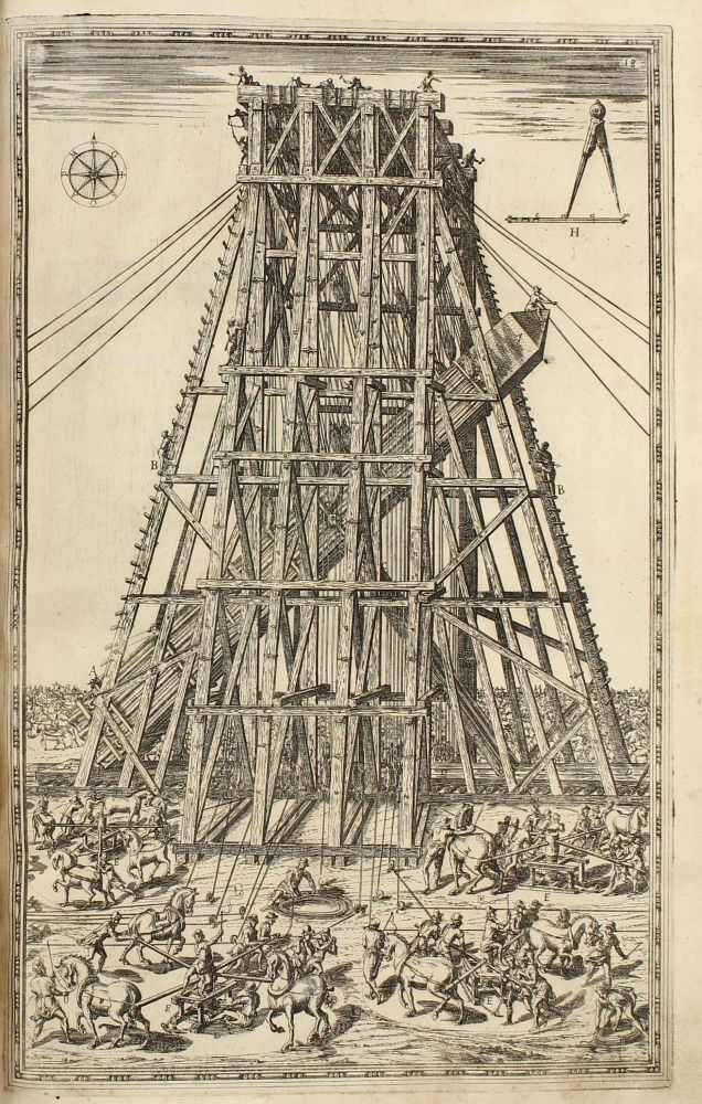 Della trasportatione dell'obelisco Vaticano et delle fabriche di Nostro Signore Papa Sisto V. With the very rare 2 engravings by Girolamo Rainaldi in first state. Domenico FONTANA.