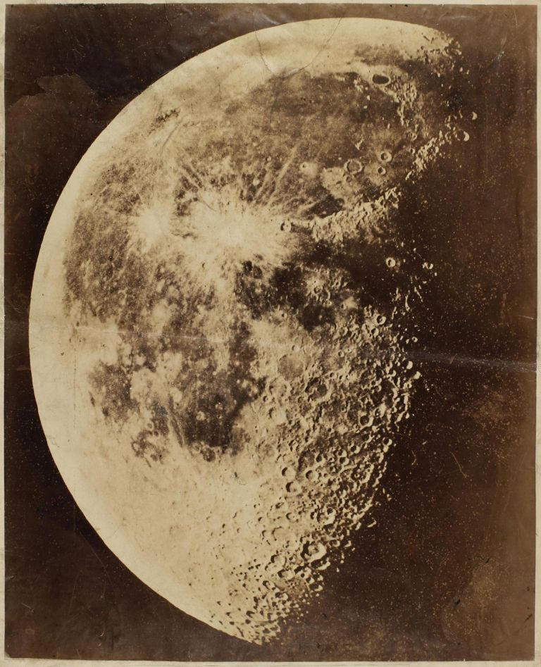 A very large and extremely rare early albumen silver print photograph of the Moon. Henry DRAPER.