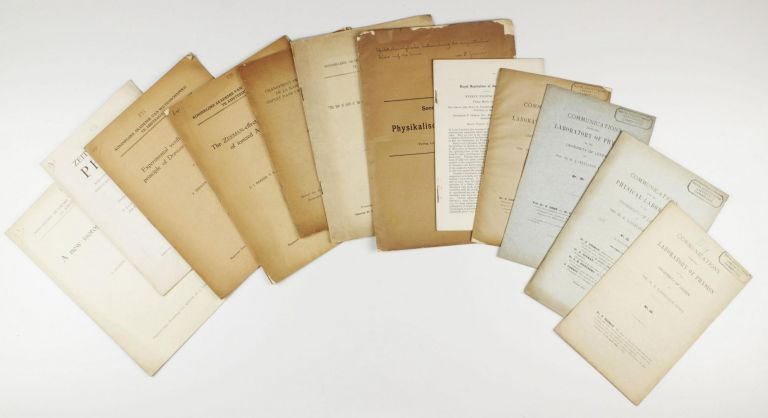 A group of 13 offprints by P. Zeeman (Nobel Prize 1902) and co-authors, 1894 to 1936, one with signed presentation inscription to upper wrapper. Pieter ZEEMAN.