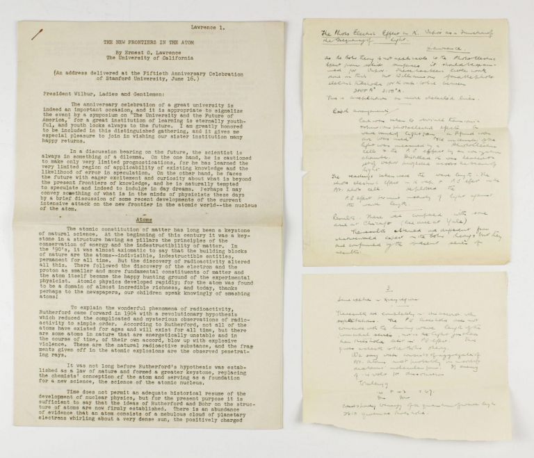 A collection of 10 offprints, journal issues, manuscripts and notes by Ernest O. Lawrence (Nobel Prize 1939) and co-workers, published between 1925 and 1941. Ernest Orlando LAWRENCE.