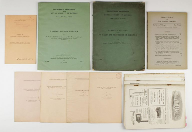 A collection of 13 offprints and journal issues by Charles G. Barkla (Nobel Prize 1917), published between 1904 and 1929. Charles Glover BARKLA.