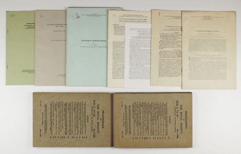 A group of 9 offprints and journal issues by Nevill Francis Mott (Nobel Prize 1977 in Physics), published between 1930 and 1992. Nevill Francis MOTT.