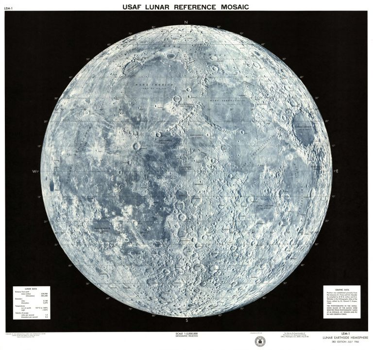 USAF lunar reference mosaic, LEM-1. Lunar earthside hemisphere in orthographic projection. ACIC.