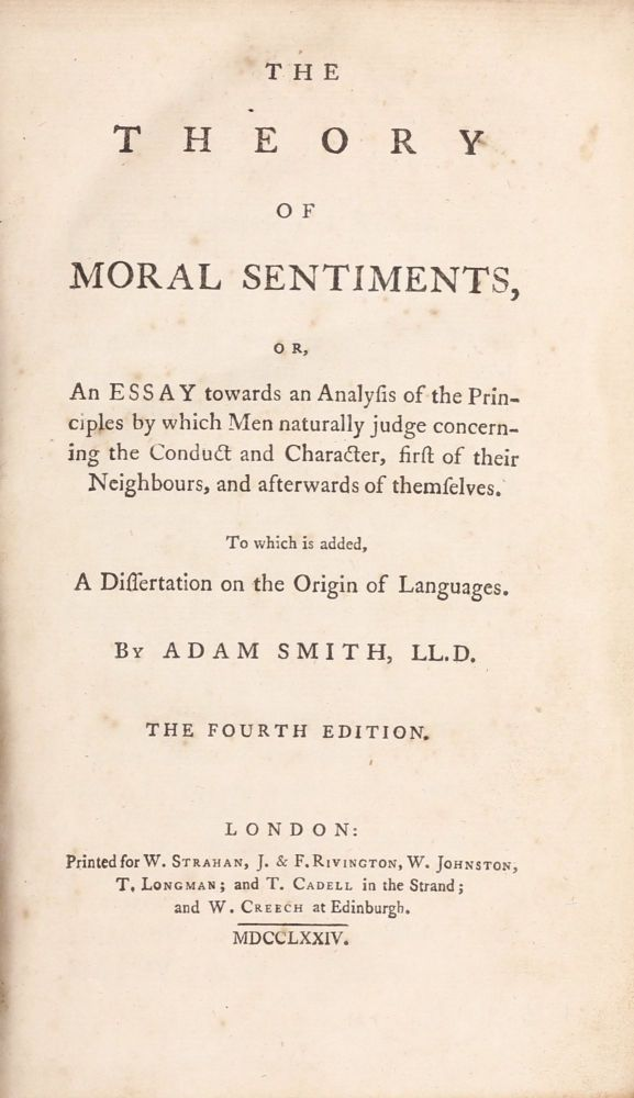 The Theory of Moral Sentiments... To which is added a dissertation on the origin of languages. Adam SMITH.