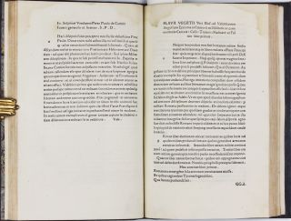 Scriptores rei Militaris. Four parts in one: I. FRONTINUS, Sextus Julius. De re militari (Strategematicon). 10 July 1495; II.VEGETIUS, Flavius. De re militari, n.d.; III.AELIANUS. De ins truendis aciebus, 16 Nov. 1495; IV.MODESTUS. De vocabulis rei militaris. n.d. (General colophon) 17 Jan. 1496.