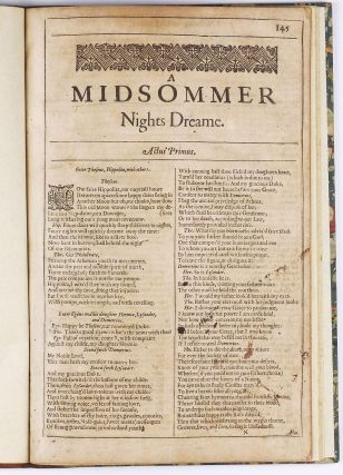 A Midsommer Nights Dreame. William SHAKESPEARE.