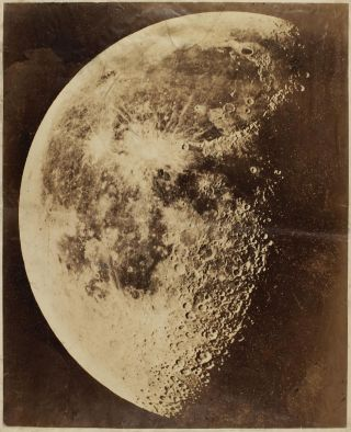 A very large and extremely rare early albumen silver print photograph of the Moon. Henry DRAPER