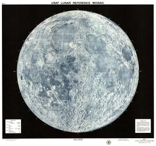 USAF lunar reference mosaic, LEM-1. Lunar earthside hemisphere in orthographic projection. ACIC